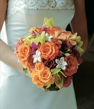 Orange and pink floral bouquet