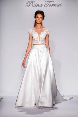 Pnina Tornai for Kleinfeld 2016 two piece wedding dress with illusion lace bodice and satin skirt