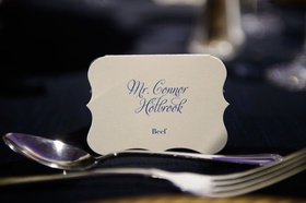 wedding reception place setting place card die cut card with menu selection and calligraphy