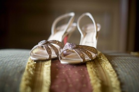 Christian Louboutin purple and gold sandal heels
