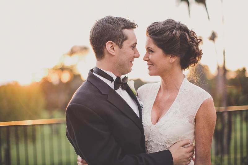 Bride and groom staring into each other's eyes