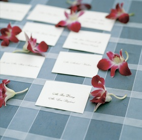 Black lettering on white card with orchids