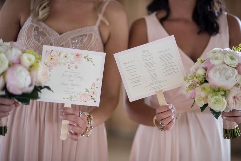 ceremony program ideas, ceremony program on fan, floral ceremony program