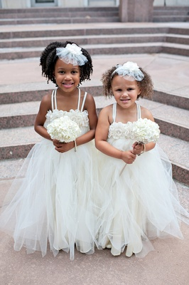 African American flower girls with fairy dresses