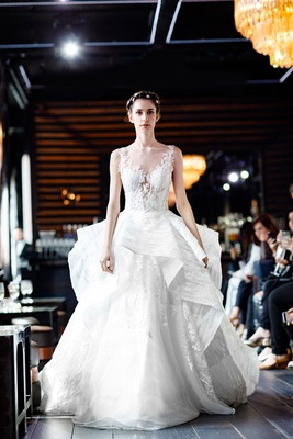 9f5318c43e Gemy Maalouf 2018 bridal collection wedding dress ball gown bridal gown  ruffle skirt illusion bodice