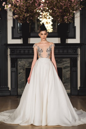 Ines Di Santo Spring 2019 collection off the shoulder gown with natural waist and back accent