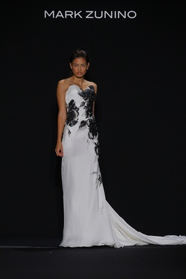 Mark Zunino for Kleinfeld 2016 black and white wedding dress with black feather motif applique