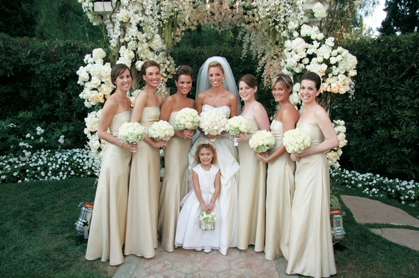Strapless off-white bridesmaid dresses