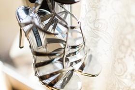 Bride's golden Prada heels