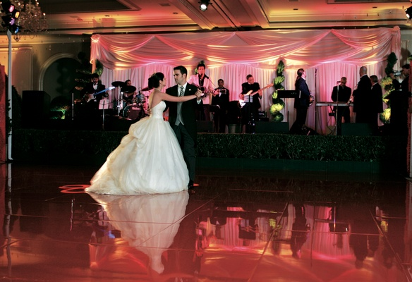 Newlyweds on dance floor with band behind them