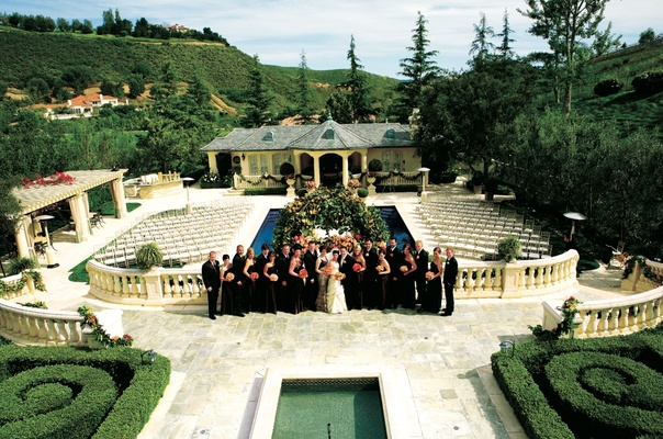Wedding held in a private residence with beautiful landscaping