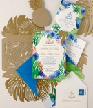 Wedding invitation suite blue pink green gold color palette palm monstera leaf gold