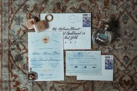 wedding invitation light blue gold design calligraphy envelope rsvp card black tie preferred