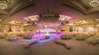 white hued reception space purple lighting indian hindu wedding california furniture ballroom