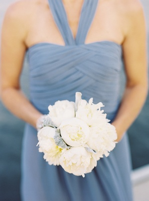 Nosegay of white peonies and dusty miller