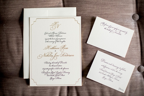 formal wedding invitation suite gold trim, script