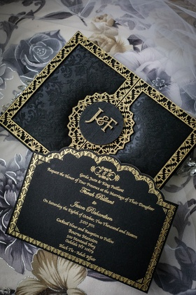 black-and-gold wedding invitation suite, black floral pattern invitation with gold trim