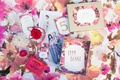 coco chanel paper products chanel no 5 five pink rose floral table linen fashion print spread purse