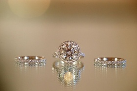 Halo diamond ring and eternity bands
