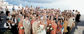 Wedding guests in Santorini, Greece
