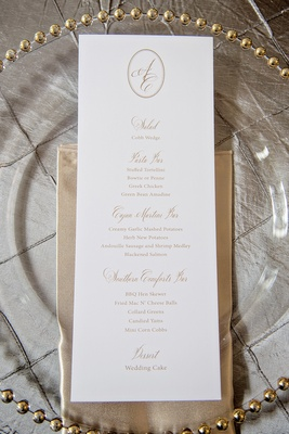 Long rectangle wedding menu with gold script and monogram