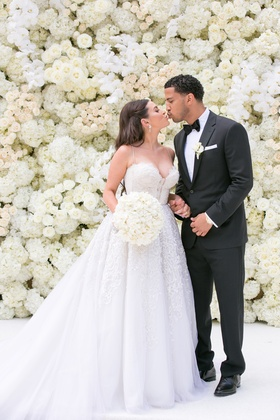 manny smith interscope wedding, kim and kanye inspired wedding floral wall