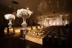 Wedding ceremony ballroom chicago warm wedding candlelight candles boxes custom decor