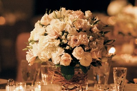 Creamy rose and curly willow centerpieces