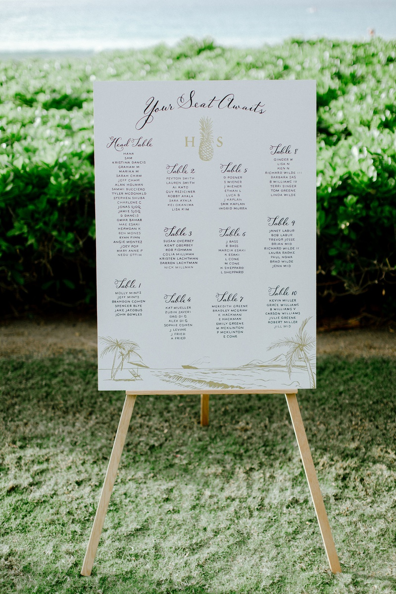 wedding reception signage your seat awaits pineapple monogram gold drawing of shore and ocean hawaii