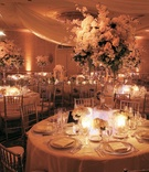 Classic wedding reception color palette ballroom decorations