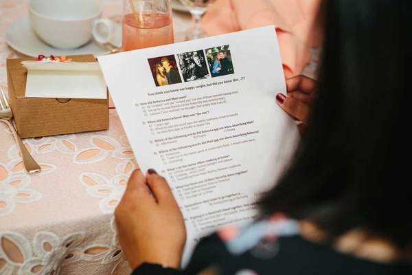 bridal shower guest reading bridal shower game instructions with multiple choice questions