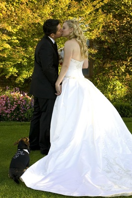 Bride and groom kiss in front of small dog