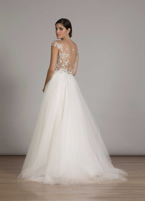 Wedding dresses 22 bridal gowns with low lace illusion backs back of a line tulle wedding dress with cap sleeves and illusion embroider back liancarlo junglespirit Choice Image