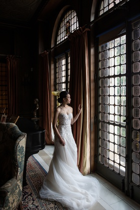 wedding inspiration, bride in mira zwillinger lace bodice and tulle skirt sweep train