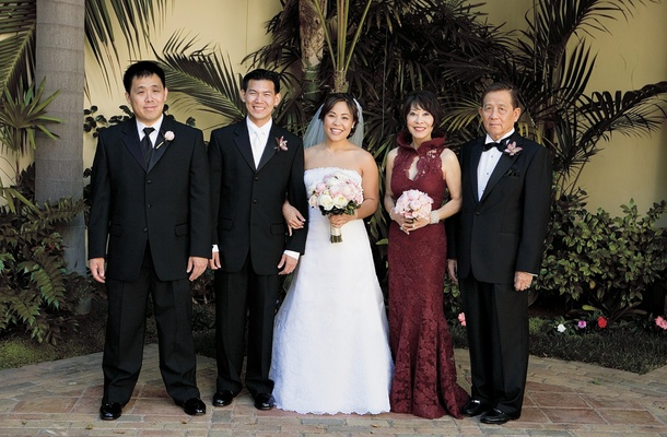 Bride and groom with mother-of-the-bride