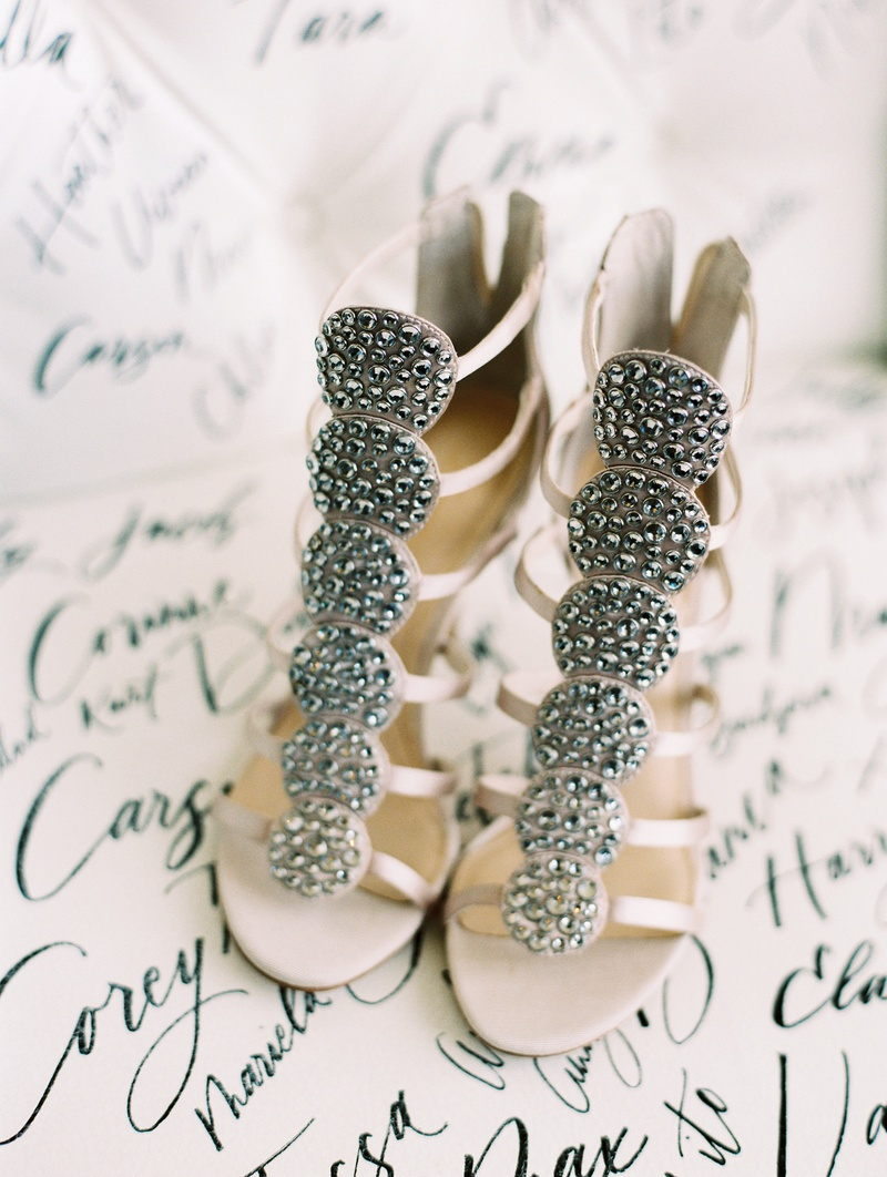 unique wedding shoes with crystal-embellished circles on the straps
