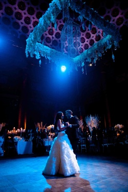 Blue wedding lighting for first dance at Capitale