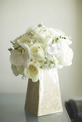 white rose, phalaenopsis orchid bouquet in vase for maui hawaii wedding ceremony