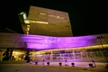 """what are you doing new year's eve?"" projected onto wedding venue perot museum"