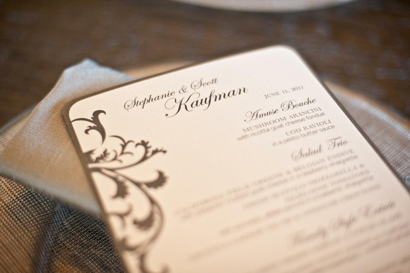 Grey-bordered menu card on parchment