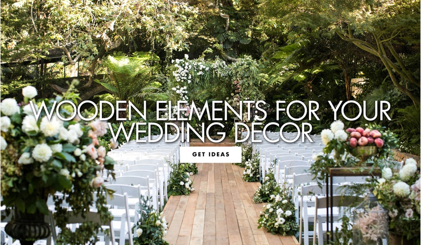 outdoor wedding with lots of trees and hardwood aisle, wooden details for your wedding