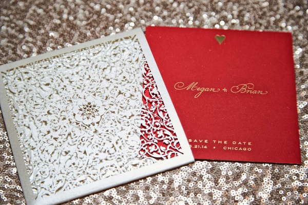 vibrant red save the date invitations silver metallic and gold calligraphy