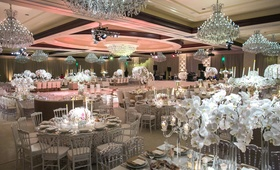 four seasons westlake village ballroom, chandeliers, orchids, white, silver, blush color scheme
