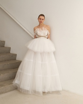 Francesca Miranda Spring 2019 collection strapless pleated tulle ball gown with tutu