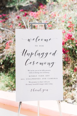 white and black wedding signage welcome to our unplugged ceremony turn off all cell phones cameras