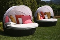 Half sphere outdoor couch with white shade