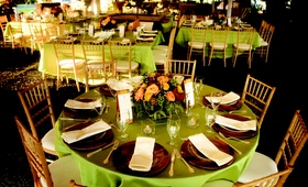 Wedding reception tables with light green tablecloths