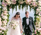 bride in vera wang, groom in bespoke suit from cad and dandy, guests blow bubbles during recessional