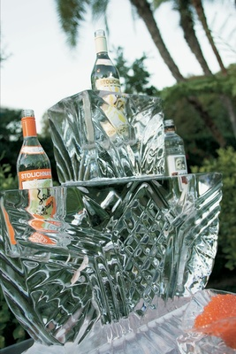 Vodka bottles inside ice sculpture at wedding