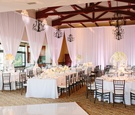 all-white color scheme, white bouquets, chandeliers Bel-Air Bay Club wedding reception